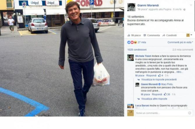 La desolante diatriba su Gianni Morandi che fa la spesa di domenica